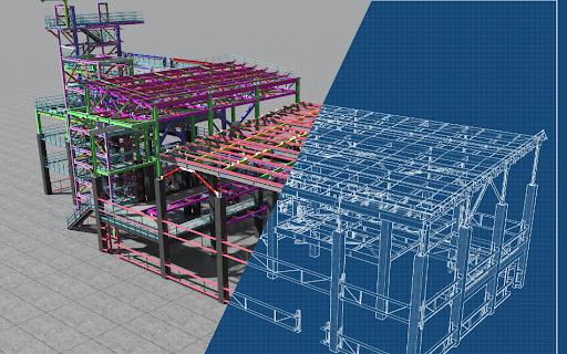 estructura mixta hormigón y acero en edificio de obra civil